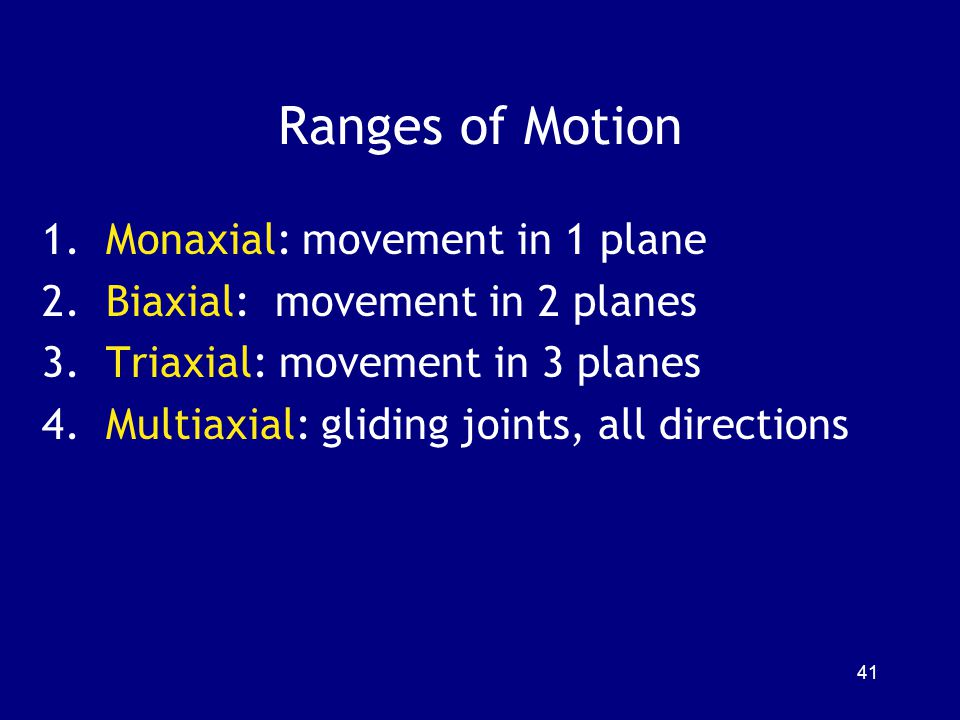 Ranges of Motion Monaxial: movement in 1 plane