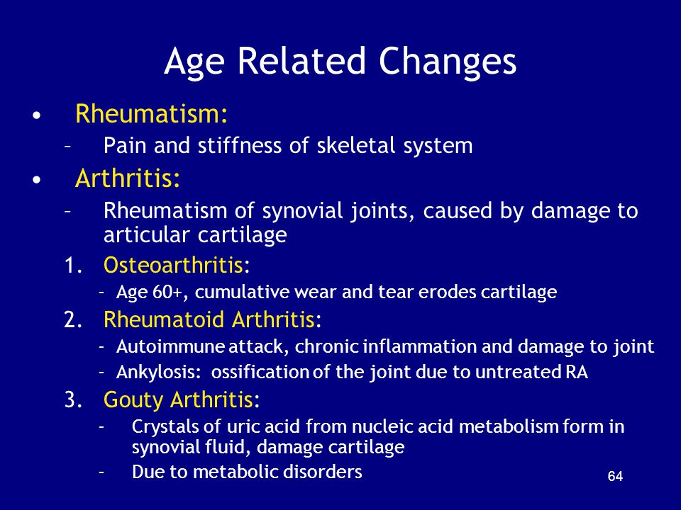 Age Related Changes Rheumatism: Arthritis: