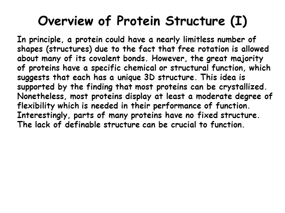 Overview of Protein Structure (I)
