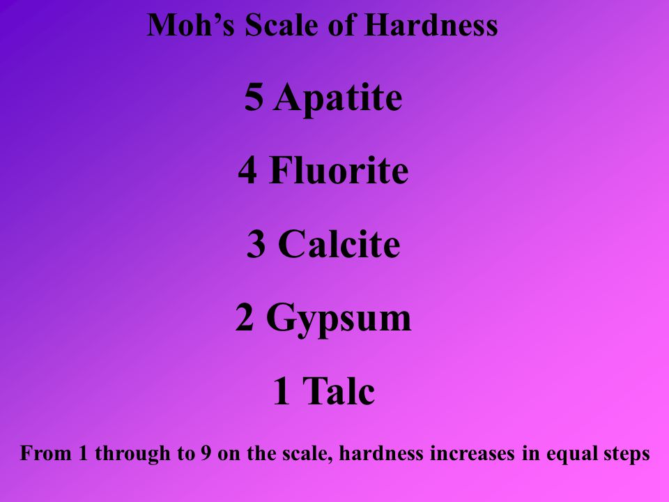 From 1 through to 9 on the scale, hardness increases in equal steps