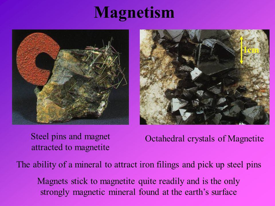Magnetism 1cm Steel pins and magnet attracted to magnetite