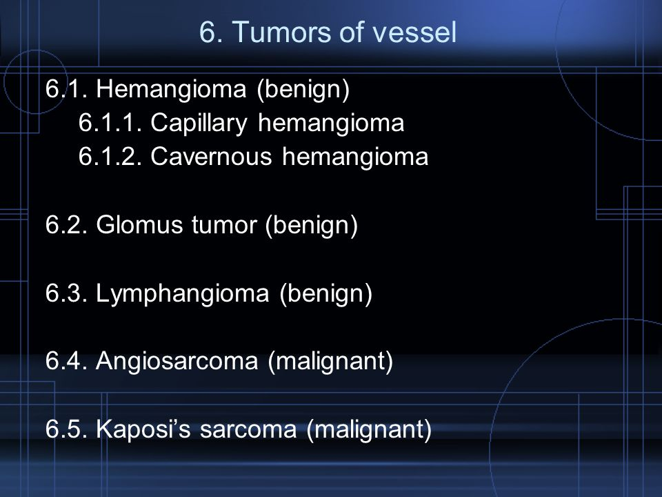 6. Tumors of vessel 6.1. Hemangioma (benign)