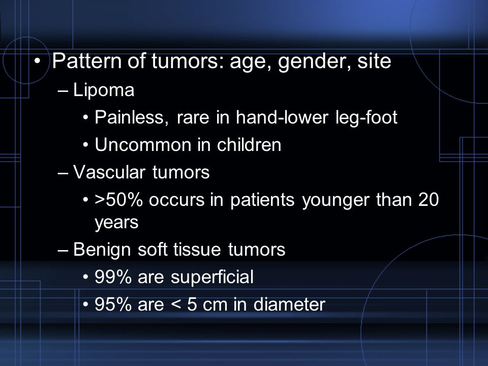 Pattern of tumors: age, gender, site