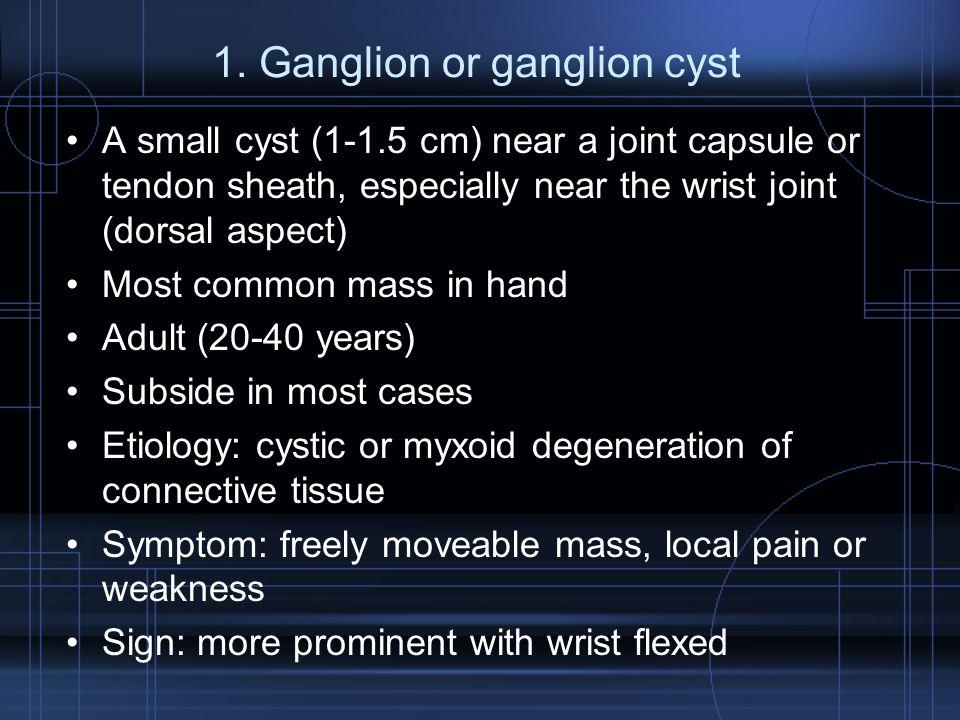 1. Ganglion or ganglion cyst