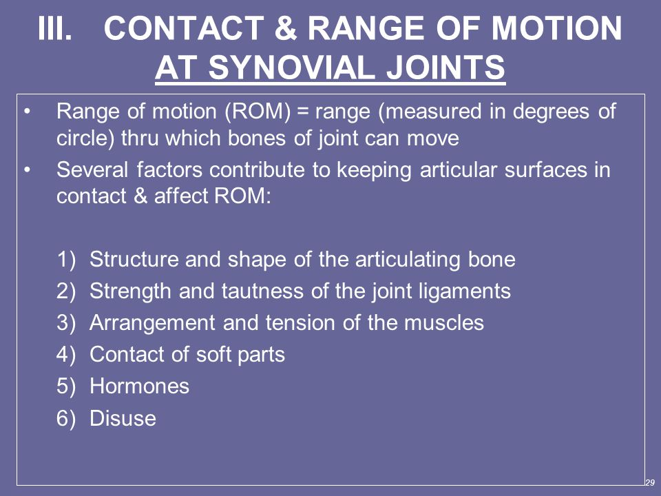 III. CONTACT & RANGE OF MOTION AT SYNOVIAL JOINTS