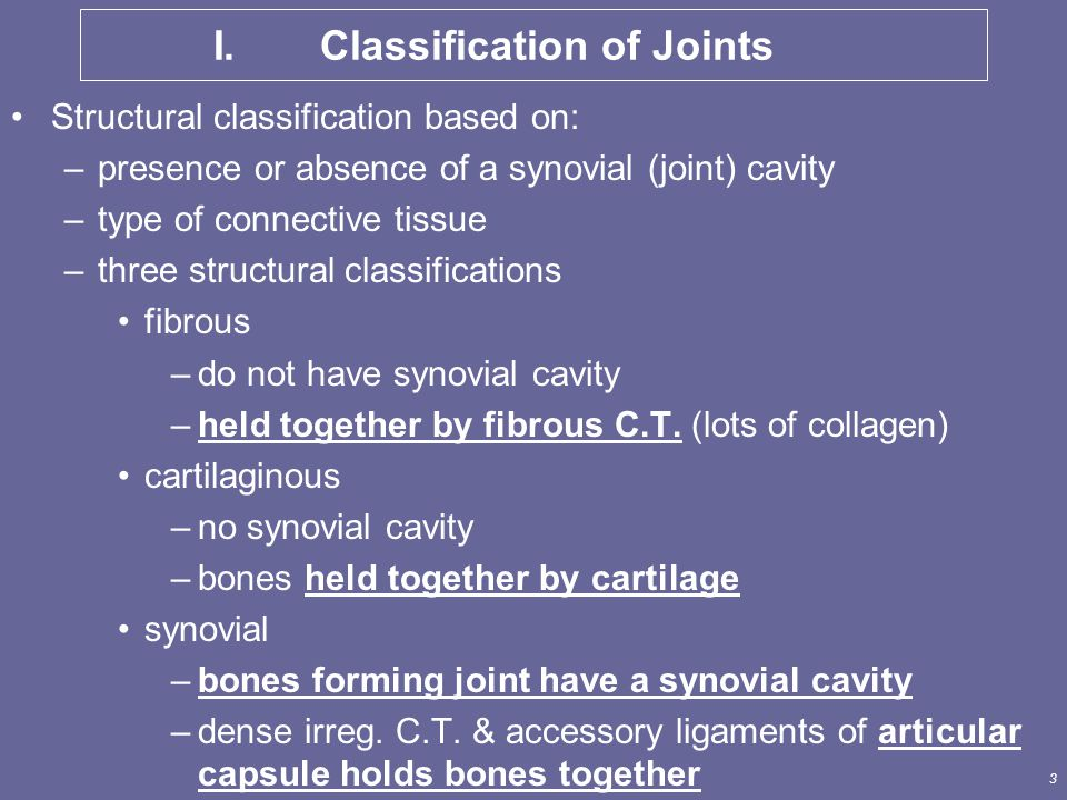 I. Classification of Joints