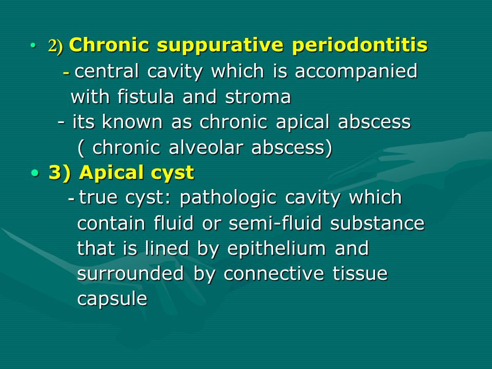 2) Chronic suppurative periodontitis