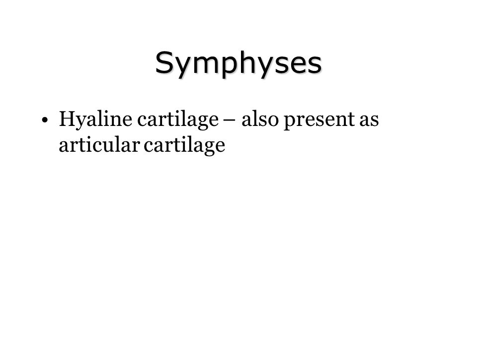 Symphyses Hyaline cartilage – also present as articular cartilage