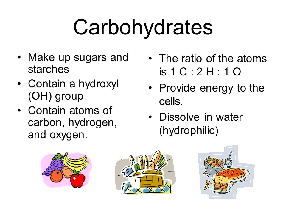 Carbohydrates Make up sugars and starches