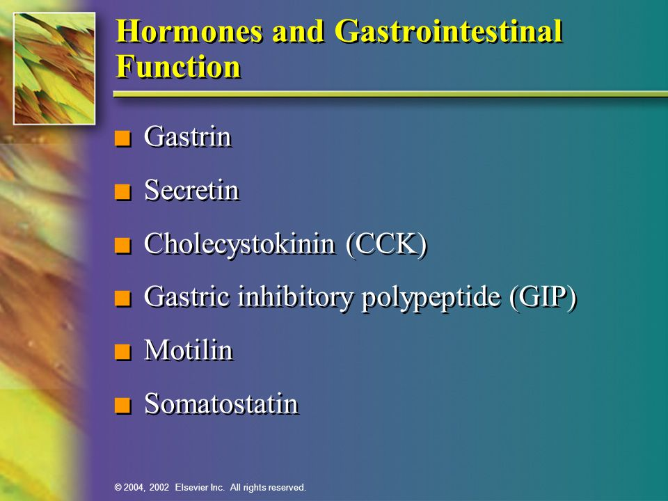 Hormones and Gastrointestinal Function