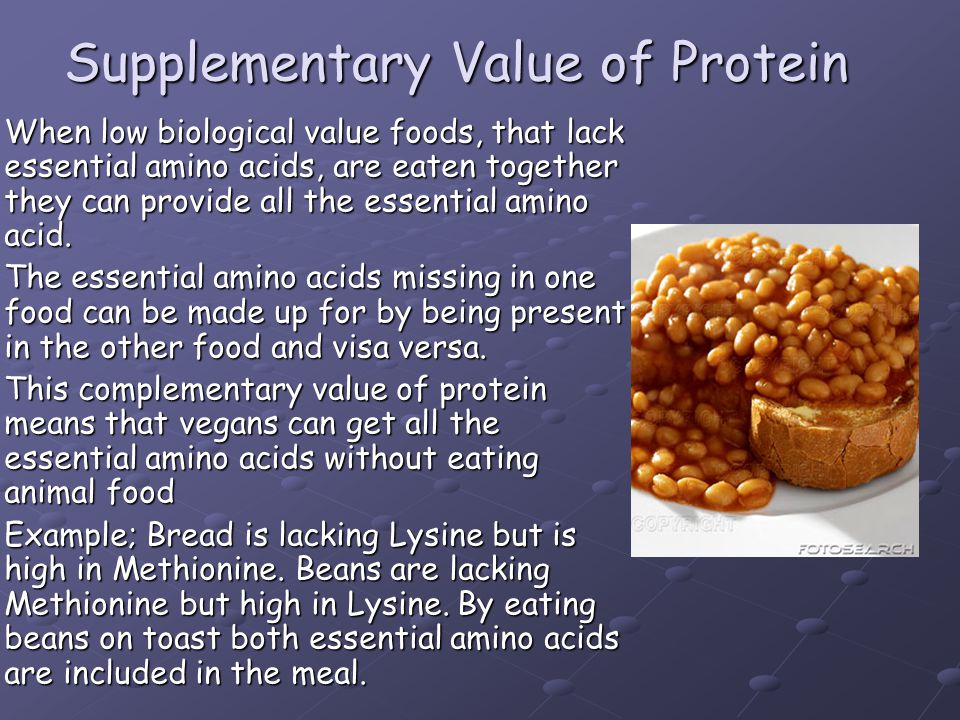 Supplementary Value of Protein