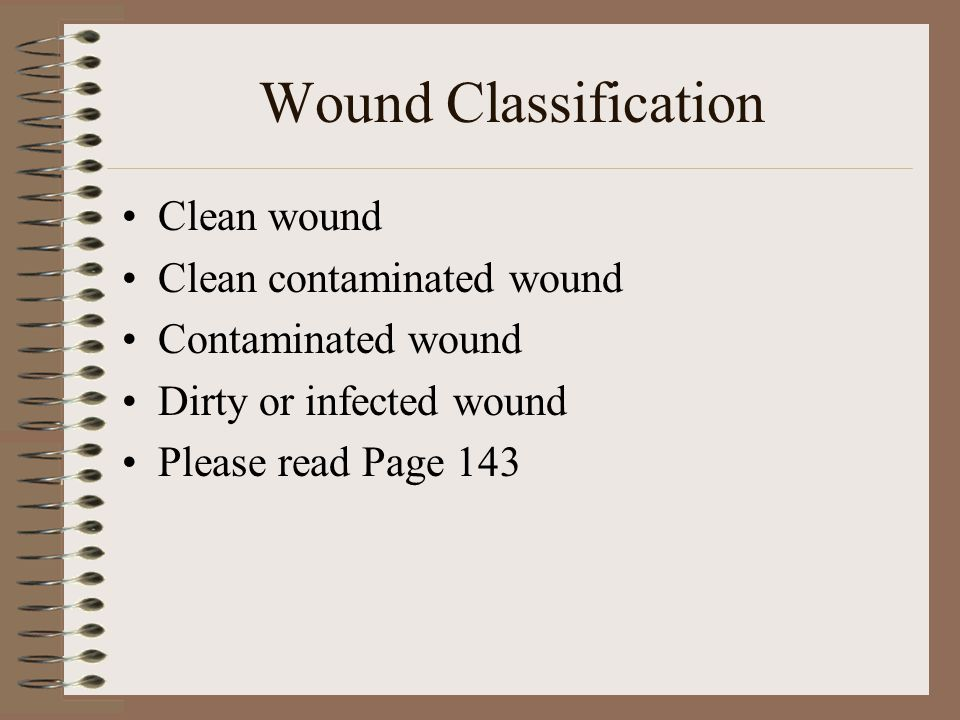 Wound Classification Clean wound Clean contaminated wound