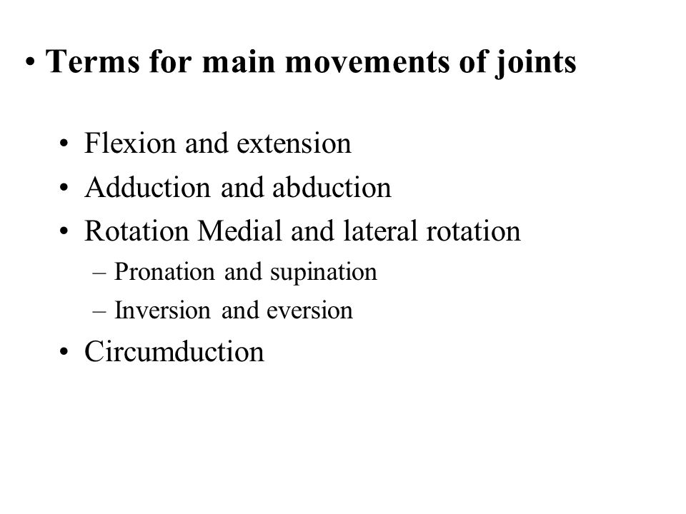 Terms for main movements of joints