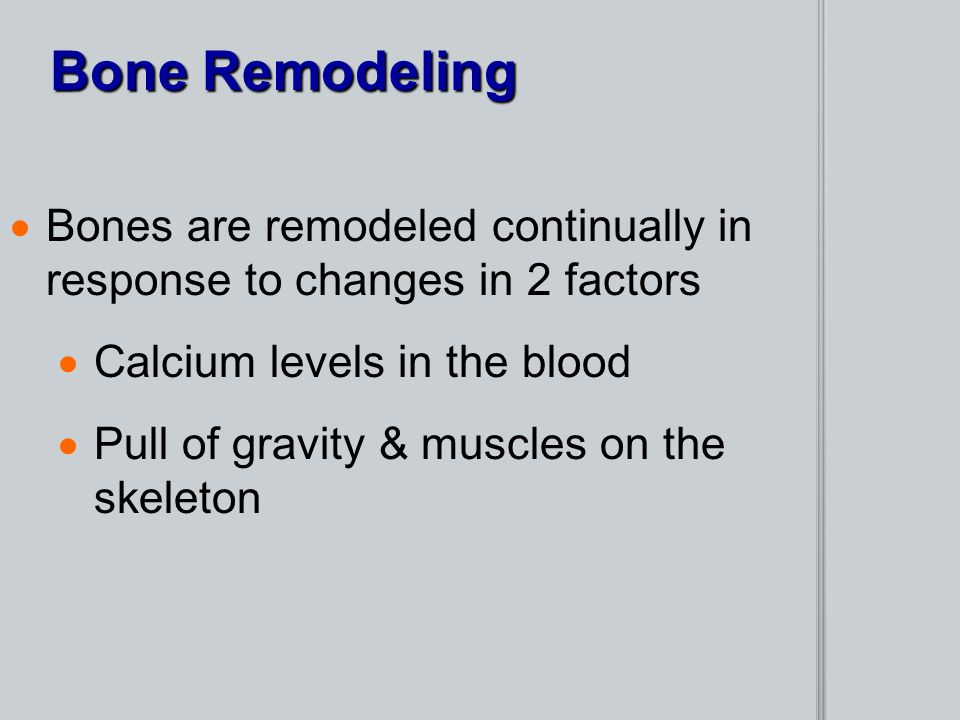Bone Remodeling Bones are remodeled continually in response to changes in 2 factors. Calcium levels in the blood.