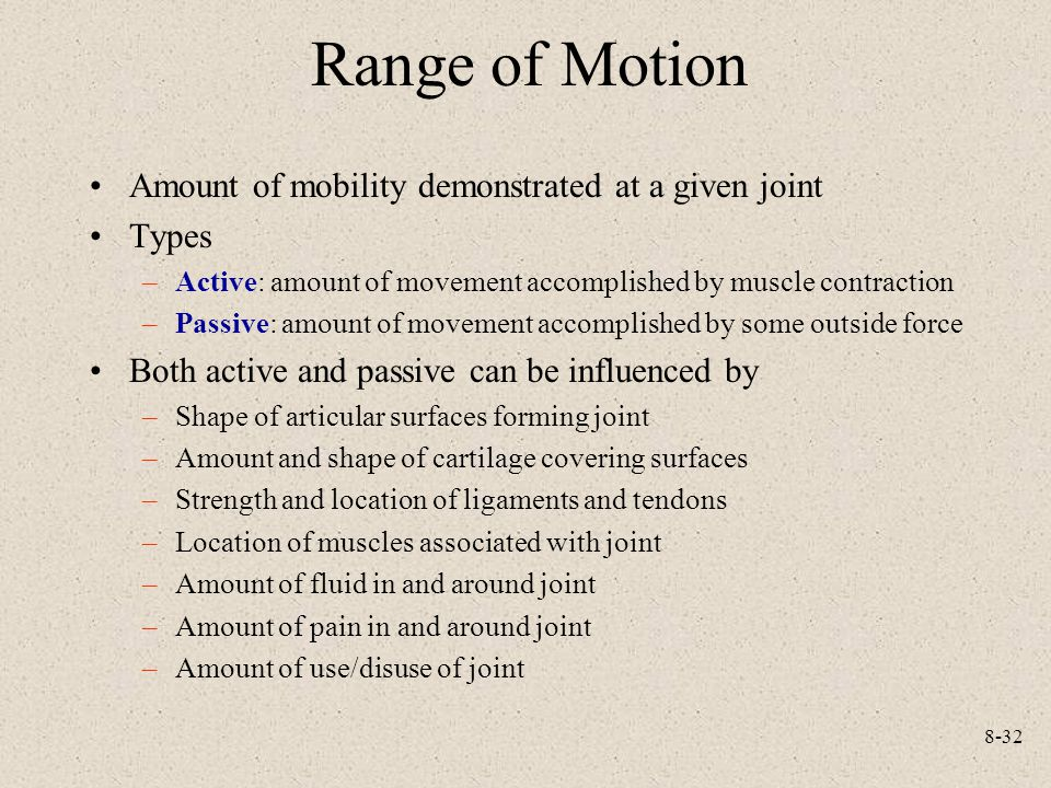 Range of Motion Amount of mobility demonstrated at a given joint Types