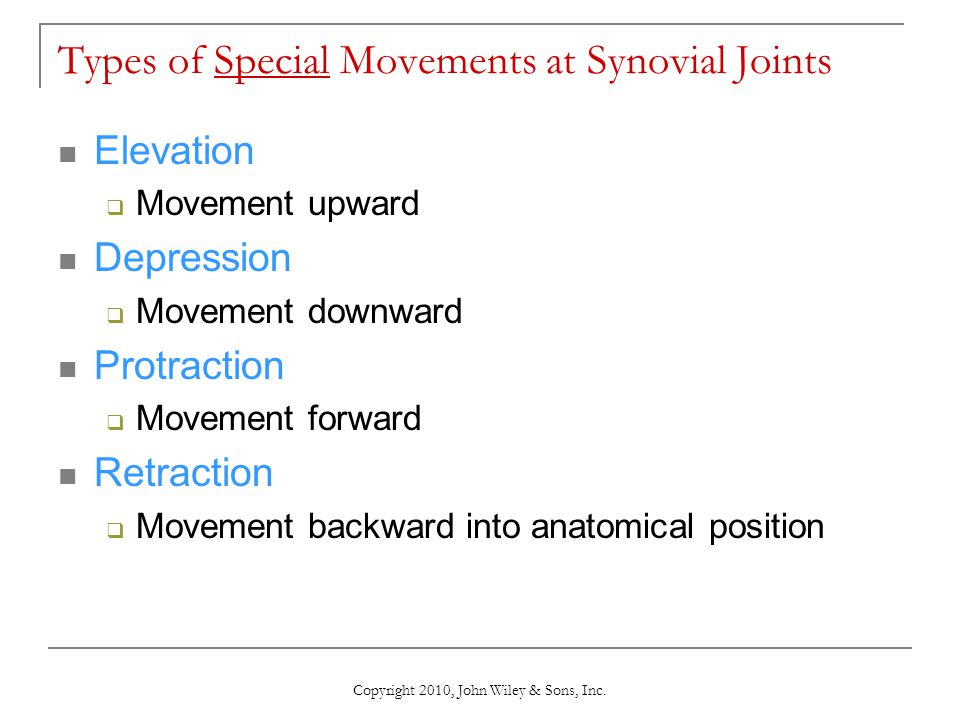Types of Special Movements at Synovial Joints
