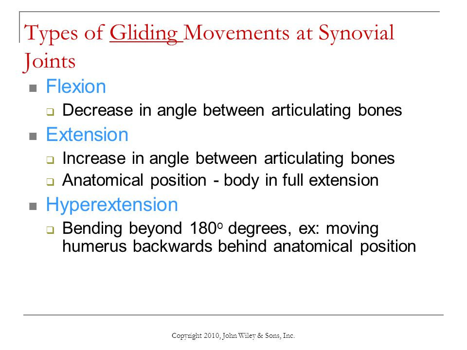 Types of Gliding Movements at Synovial Joints