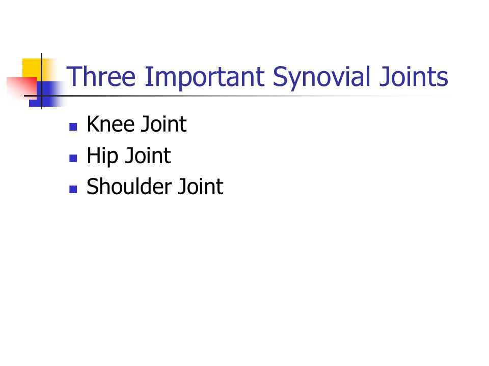 Three Important Synovial Joints