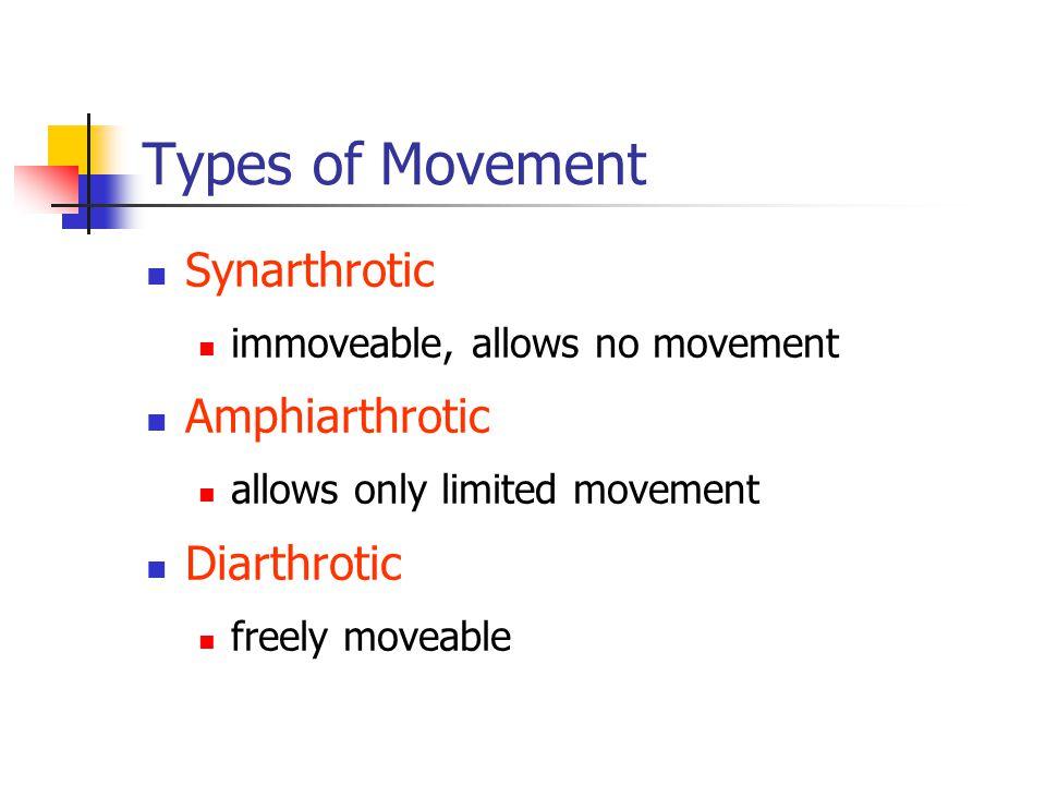 Types of Movement Synarthrotic Amphiarthrotic Diarthrotic