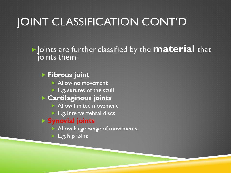 Joint Classification Cont'd