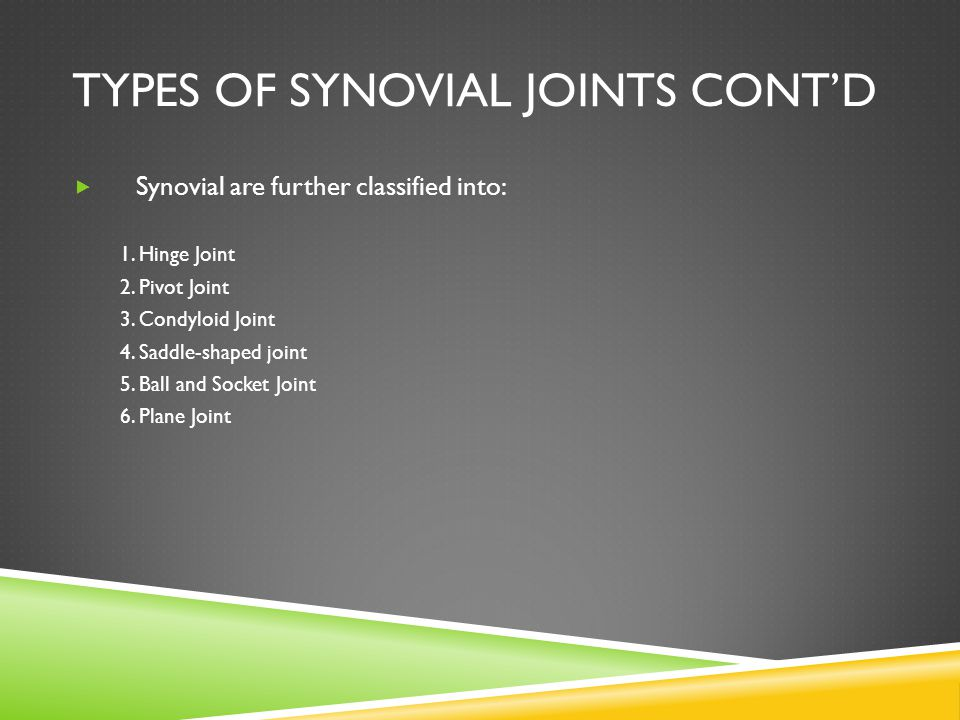 Types of Synovial Joints Cont'd