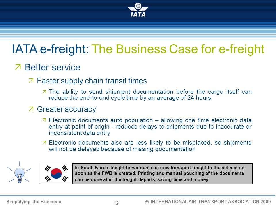 IATA e-freight: The Business Case for e-freight