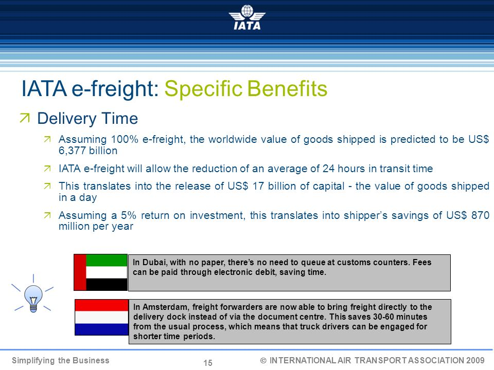 IATA e-freight: Specific Benefits