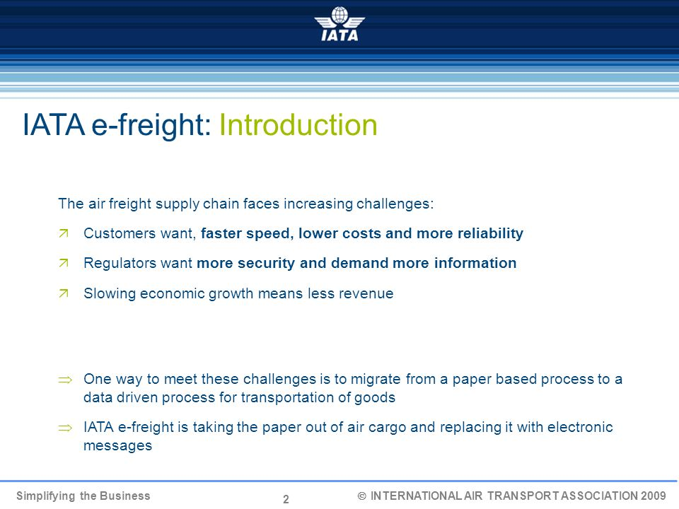 IATA e-freight: Introduction