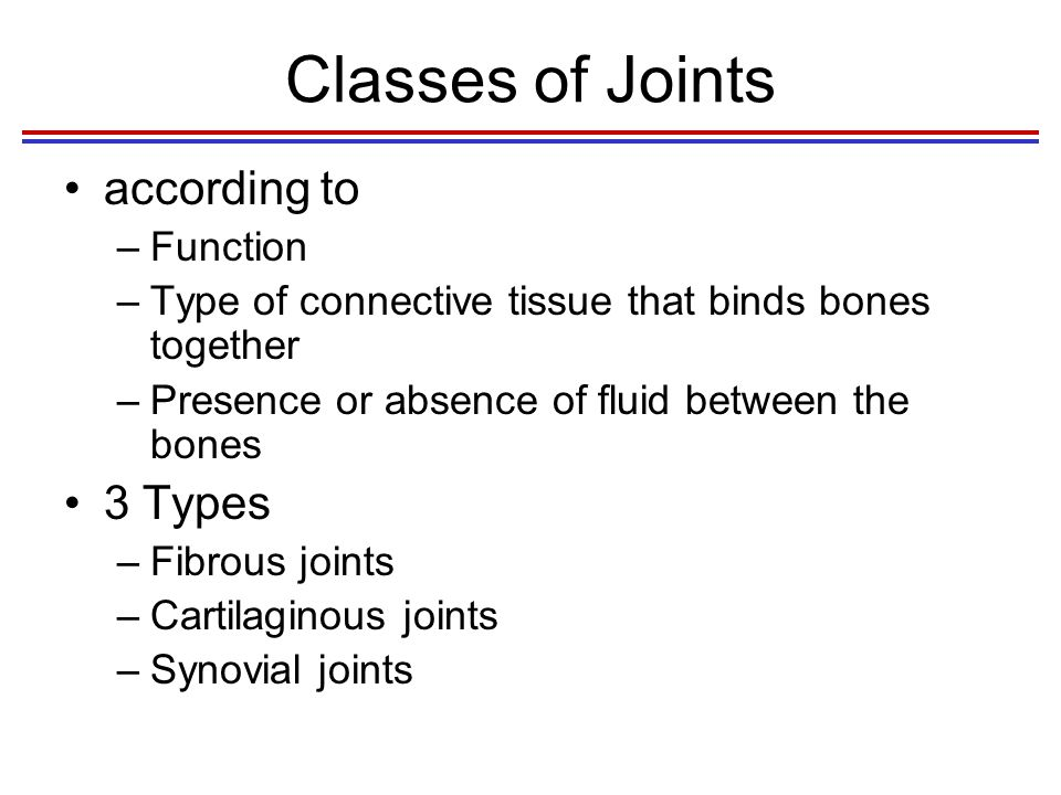 Classes of Joints according to 3 Types Function