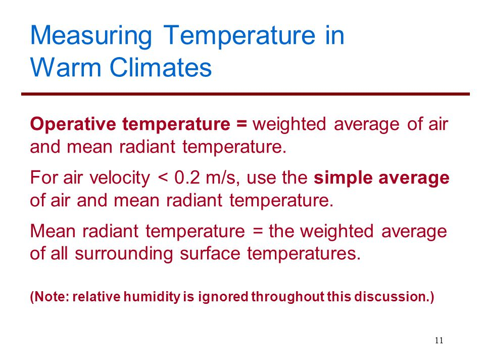 Measuring Temperature in Warm Climates