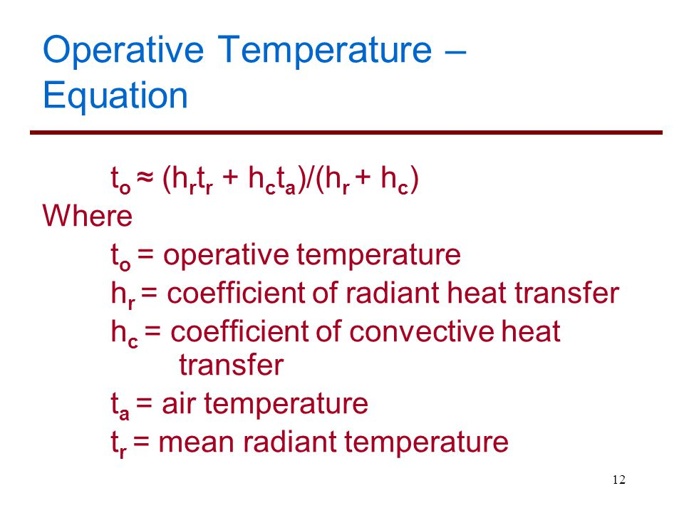 Operative Temperature – Equation