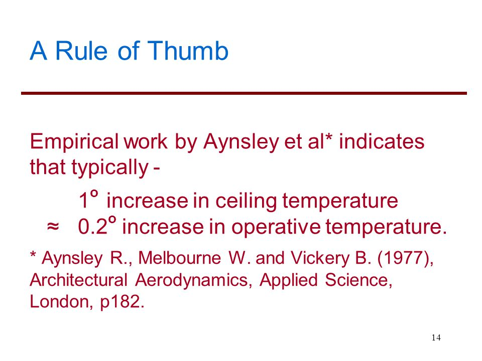 A Rule of Thumb Empirical work by Aynsley et al* indicates that typically - 1o increase in ceiling temperature.