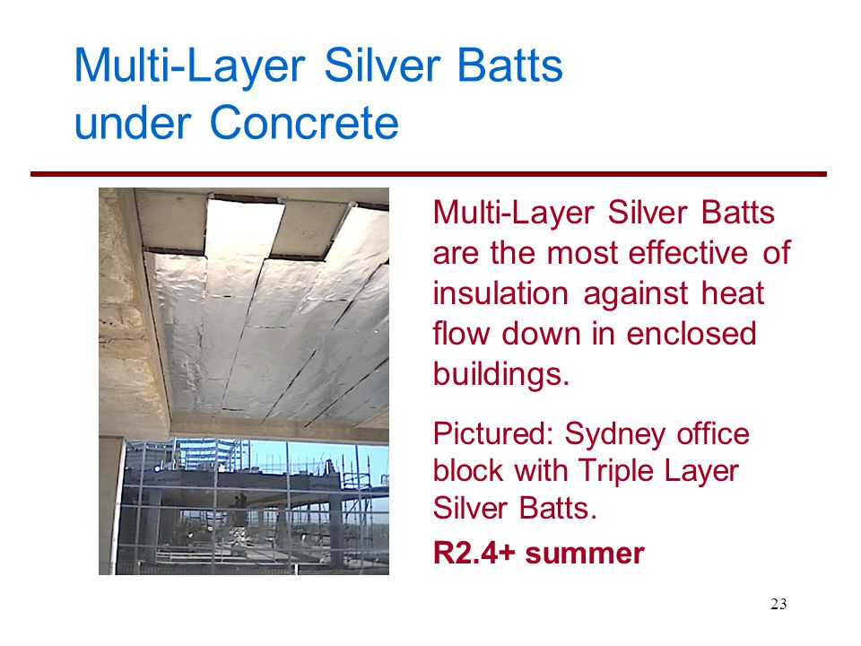 Multi-Layer Silver Batts under Concrete