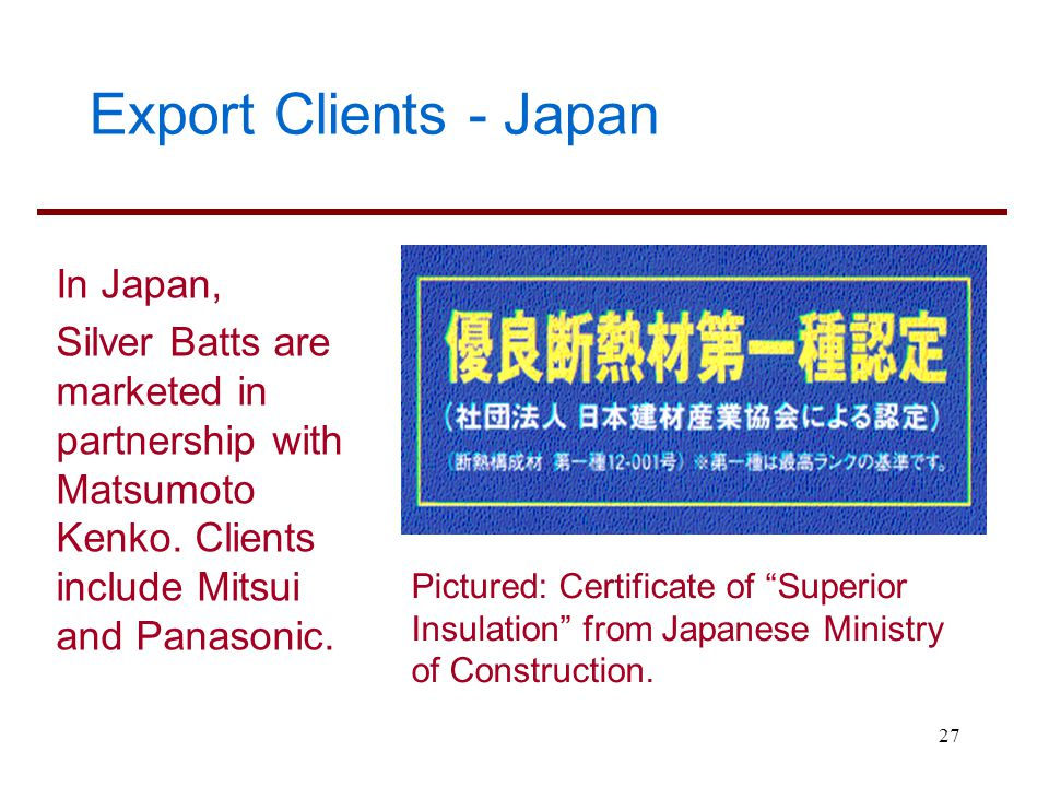 Export Clients - Japan In Japan,