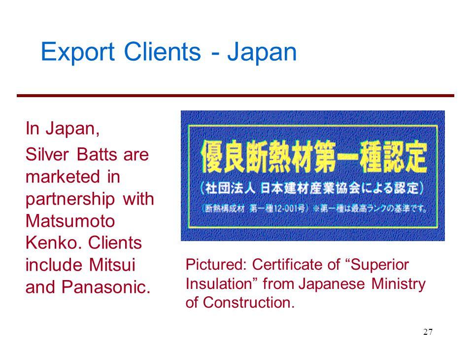 Export Clients - Japan In Japan,