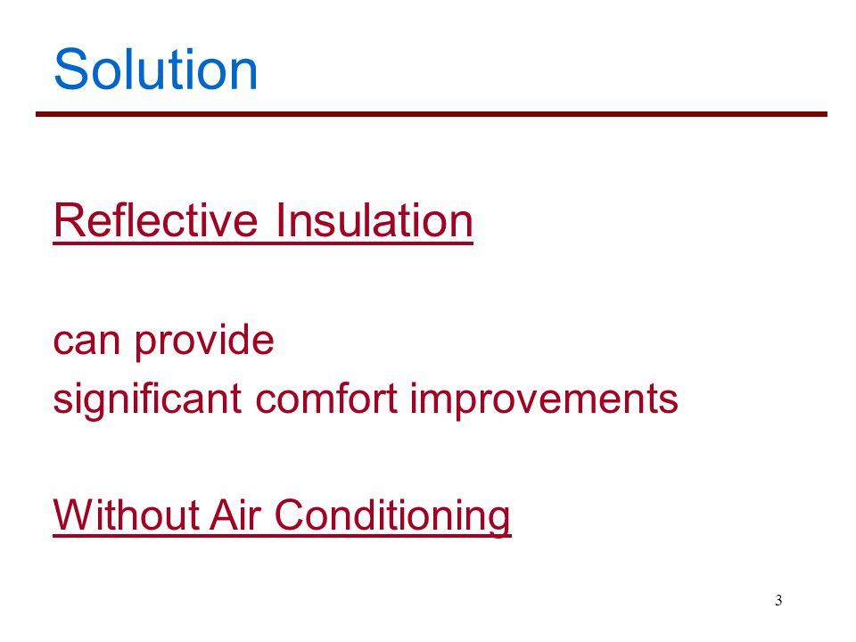 Solution Reflective Insulation can provide