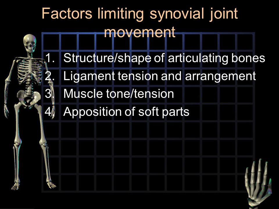 Factors limiting synovial joint movement