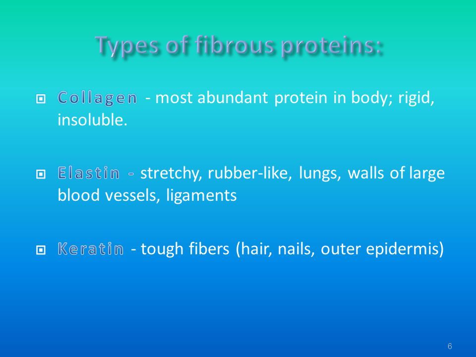 Types of fibrous proteins: