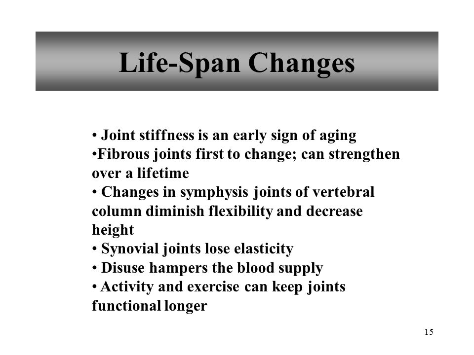 Life-Span Changes Joint stiffness is an early sign of aging