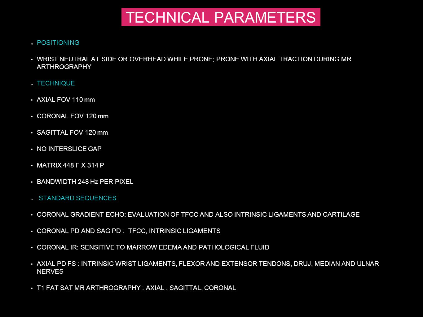 TECHNICAL PARAMETERS POSITIONING