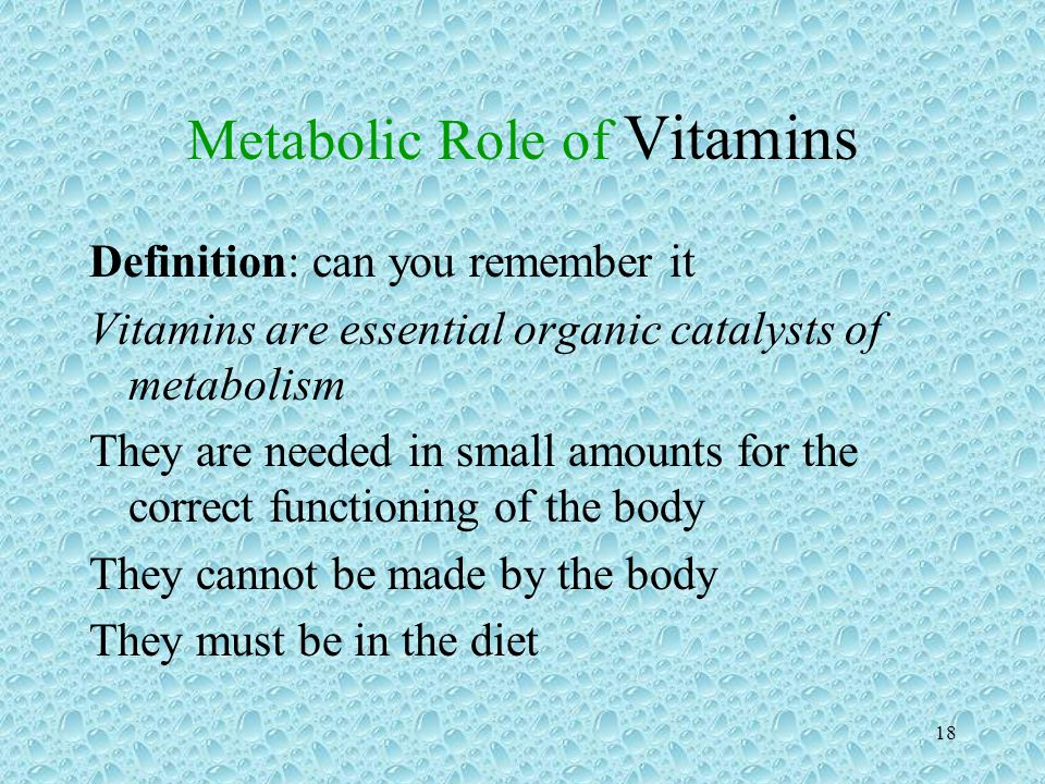 Metabolic Role of Vitamins
