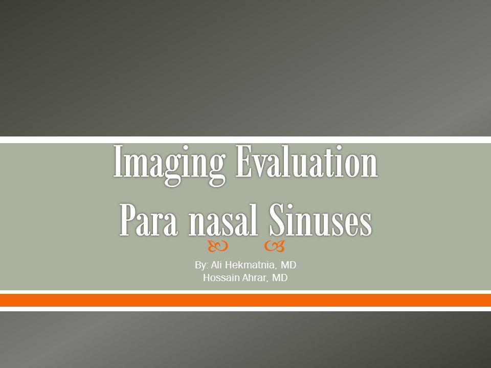 Imaging Evaluation Para nasal Sinuses