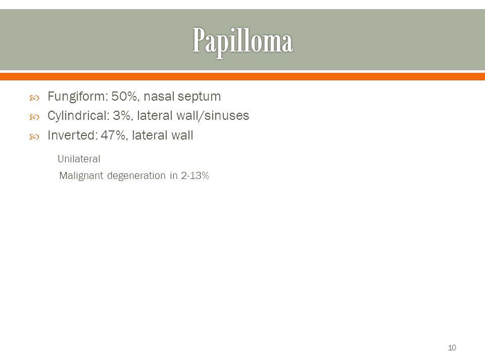 Papilloma Unilateral Fungiform: 50%, nasal septum