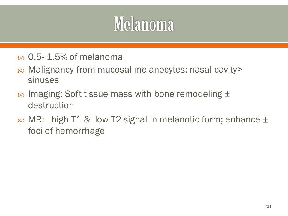 Melanoma 0.5- 1.5% of melanoma
