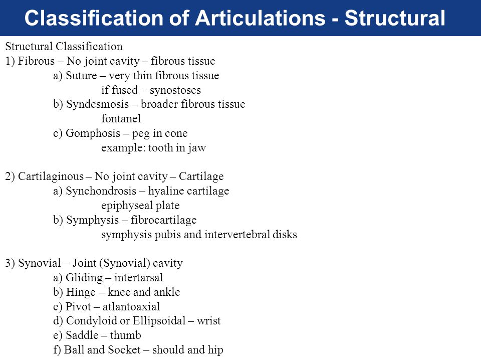 Classification of Articulations - Structural