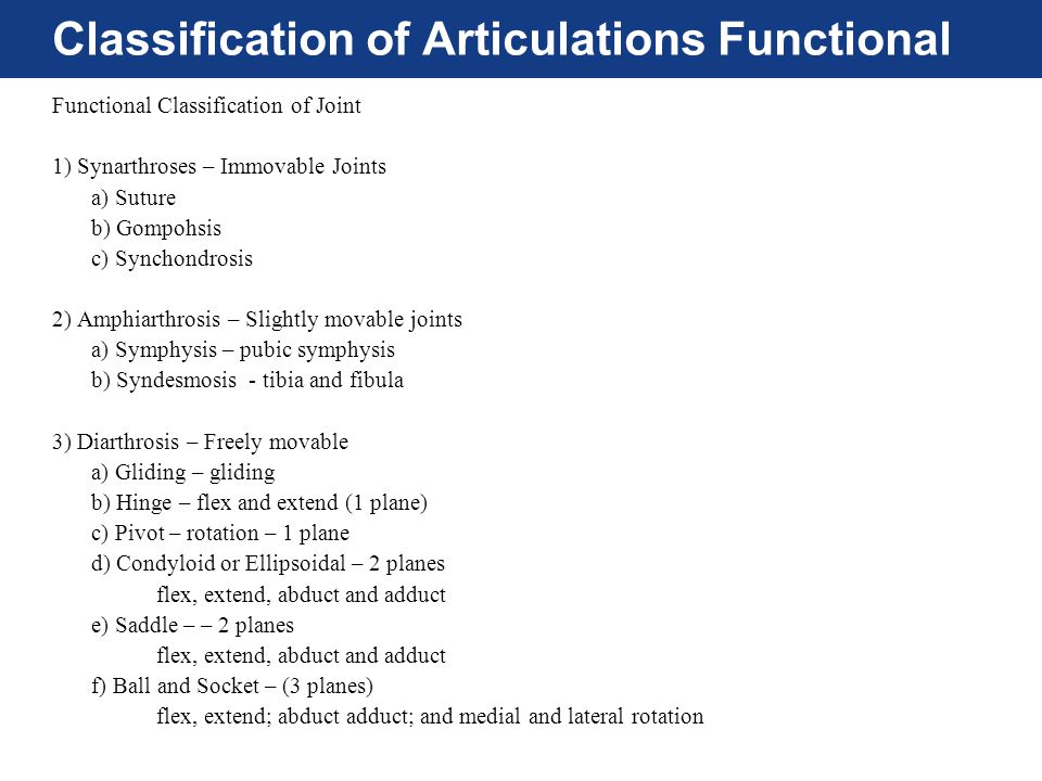 Classification of Articulations Functional
