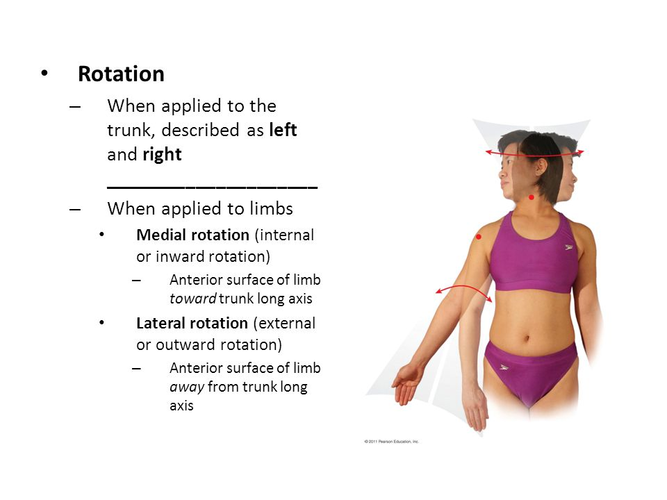 Rotation When applied to the trunk, described as left and right _____________________. When applied to limbs.