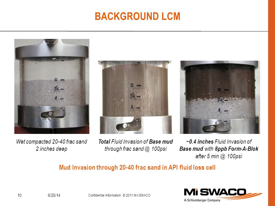 BACKGROUND LCM Mud Invasion through 20-40 frac sand in API fluid loss cell. Wet compacted 20-40 frac sand.
