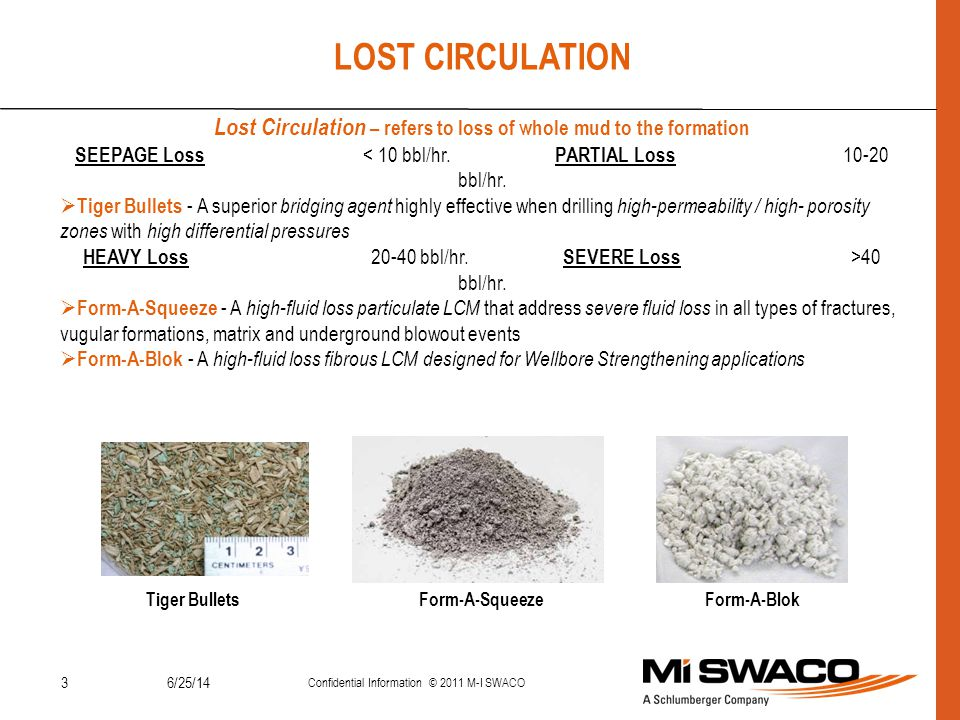LOST CIRCULATION Lost Circulation – refers to loss of whole mud to the formation. SEEPAGE Loss < 10 bbl/hr. PARTIAL Loss 10-20 bbl/hr.