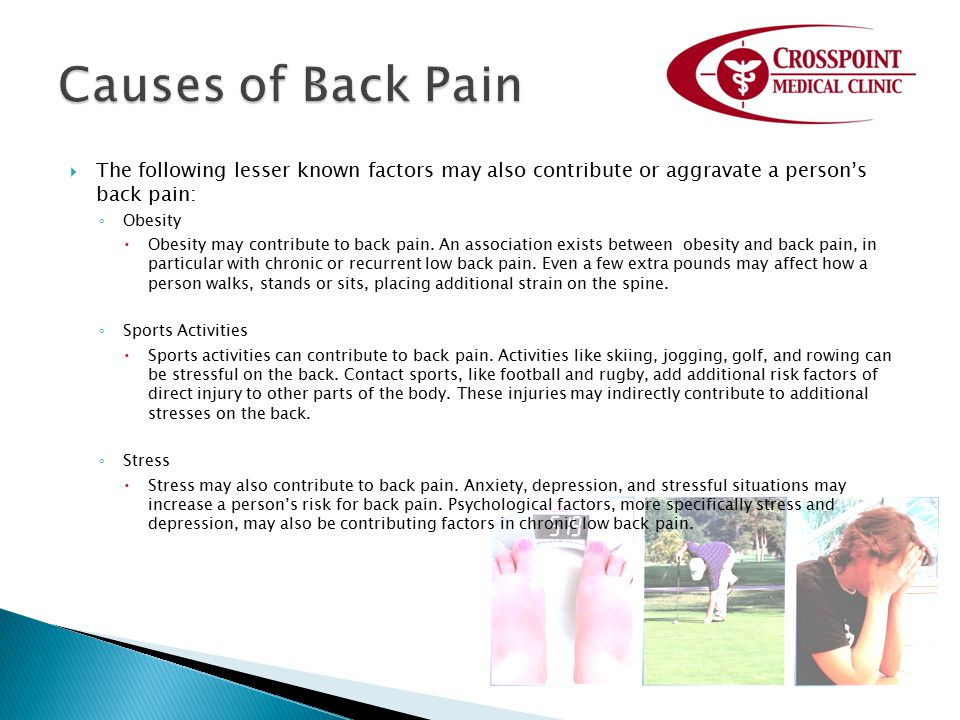 Causes of Back Pain The following lesser known factors may also contribute or aggravate a person's back pain:
